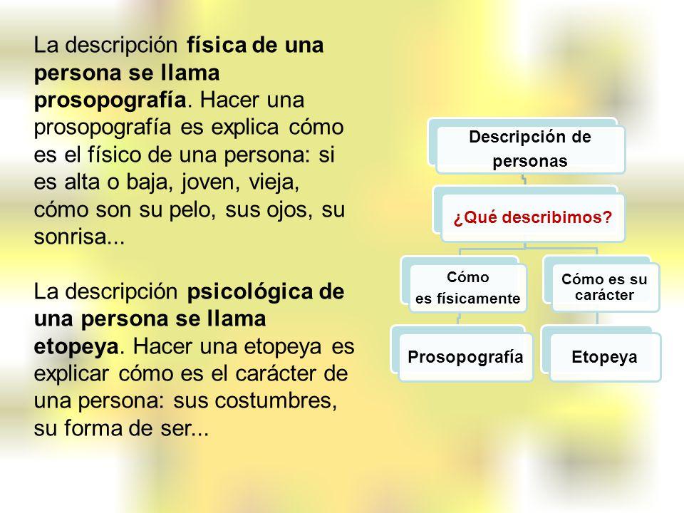 La descripción física de una persona se llama prosopografía