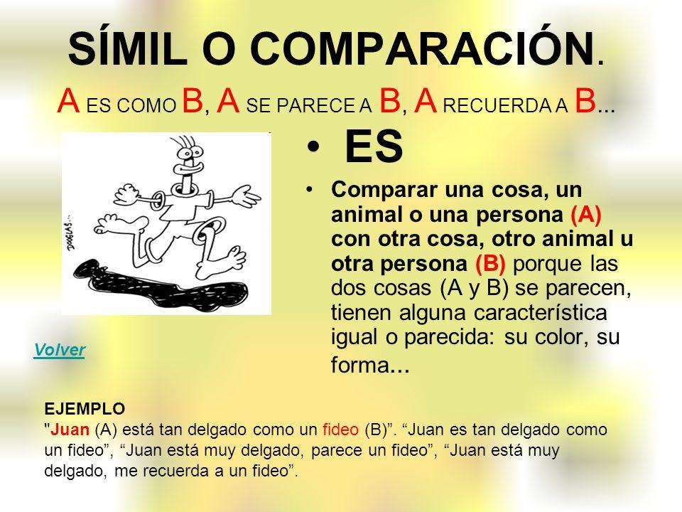 SÍMIL O COMPARACIÓN. A ES COMO B, A SE PARECE A B, A RECUERDA A B...