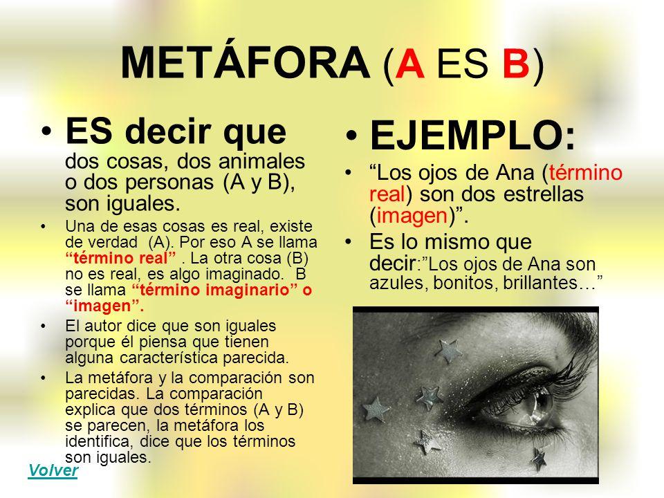 METÁFORA (A ES B) EJEMPLO: