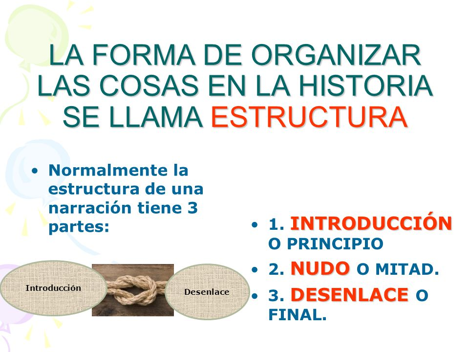 LA FORMA DE ORGANIZAR LAS COSAS EN LA HISTORIA SE LLAMA ESTRUCTURA