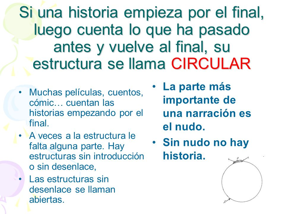 Si una historia empieza por el final, luego cuenta lo que ha pasado antes y vuelve al final, su estructura se llama CIRCULAR
