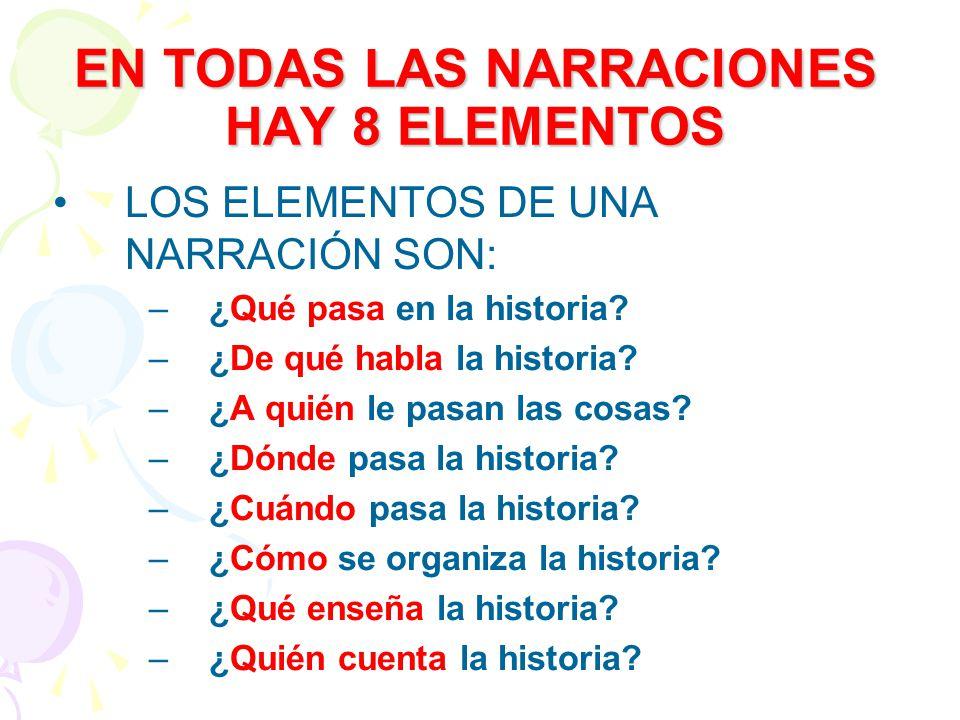 EN TODAS LAS NARRACIONES HAY 8 ELEMENTOS