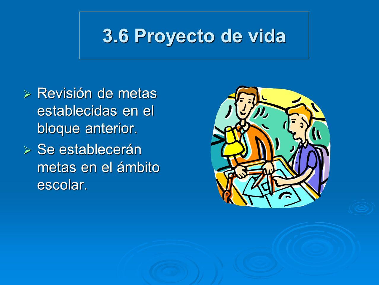 3.6 Proyecto de vida Revisión de metas establecidas en el bloque anterior.