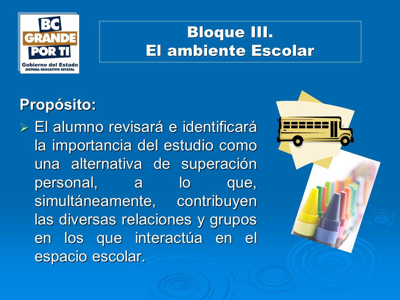 Bloque III. El ambiente Escolar