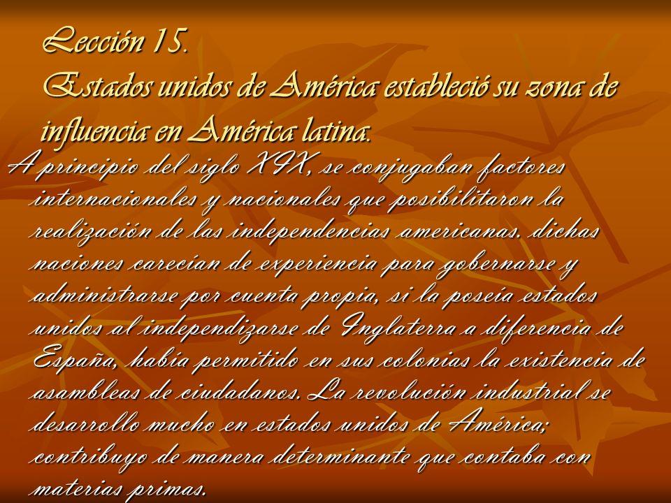 Lección 15. Estados unidos de América estableció su zona de influencia en América latina.