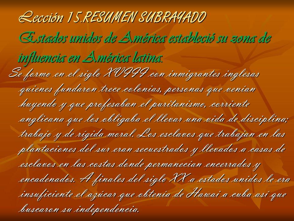 Lección 15.RESUMEN SUBRAYADO Estados unidos de América estableció su zona de influencia en América latina.