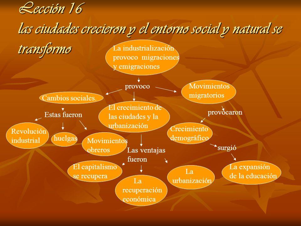 Lección 16 las ciudades crecieron y el entorno social y natural se transformo