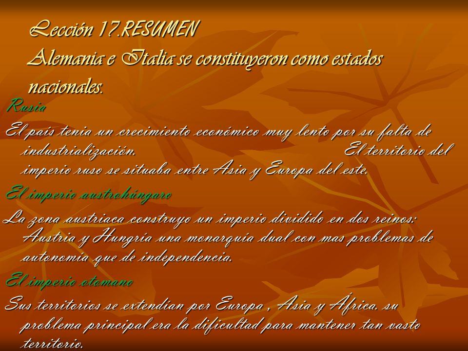 Lección 17.RESUMEN Alemania e Italia se constituyeron como estados nacionales.