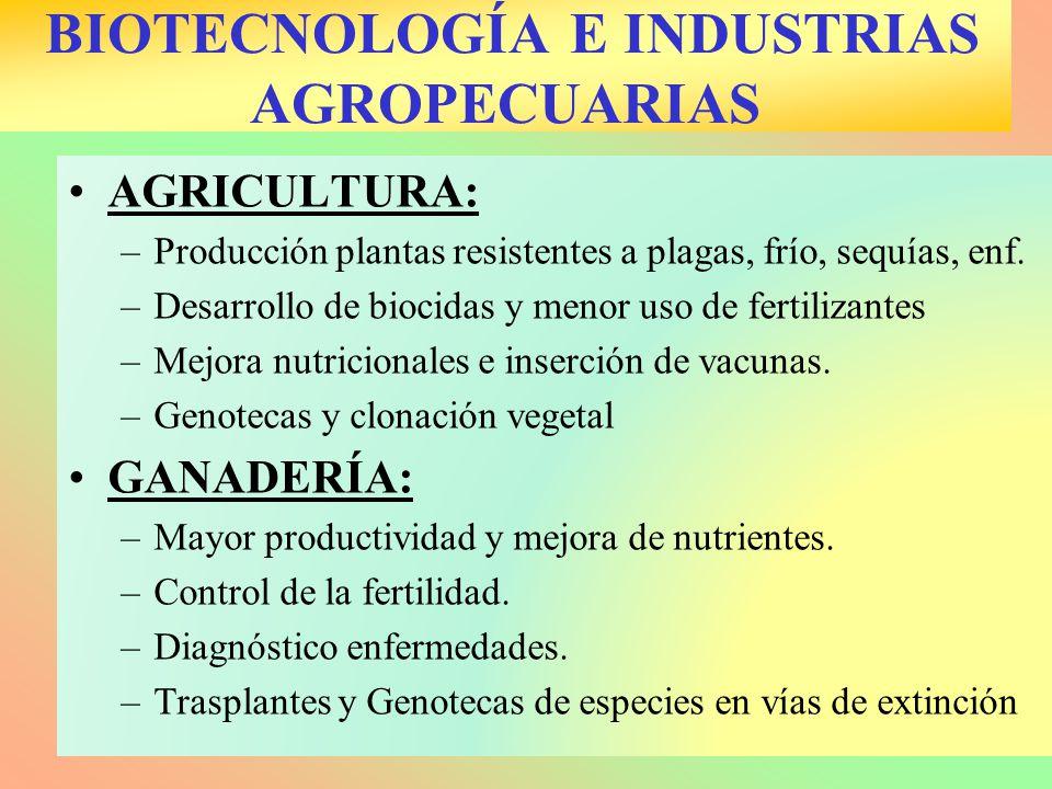 BIOTECNOLOGÍA E INDUSTRIAS AGROPECUARIAS