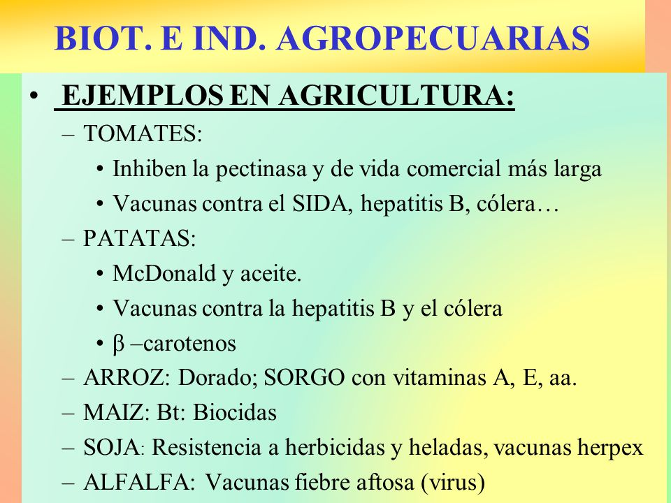 BIOT. E IND. AGROPECUARIAS