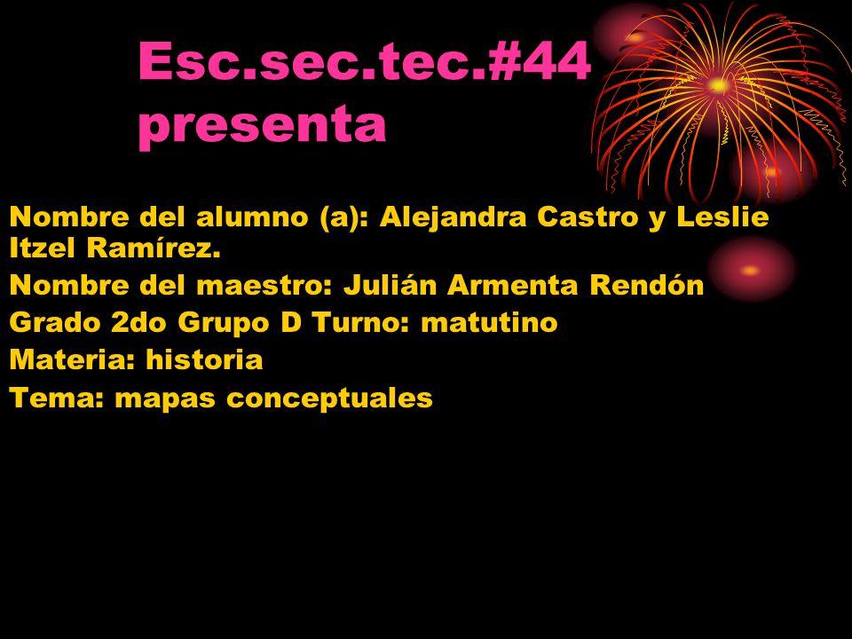 Esc.sec.tec.#44 presenta Nombre del alumno (a): Alejandra Castro y Leslie Itzel Ramírez. Nombre del maestro: Julián Armenta Rendón.