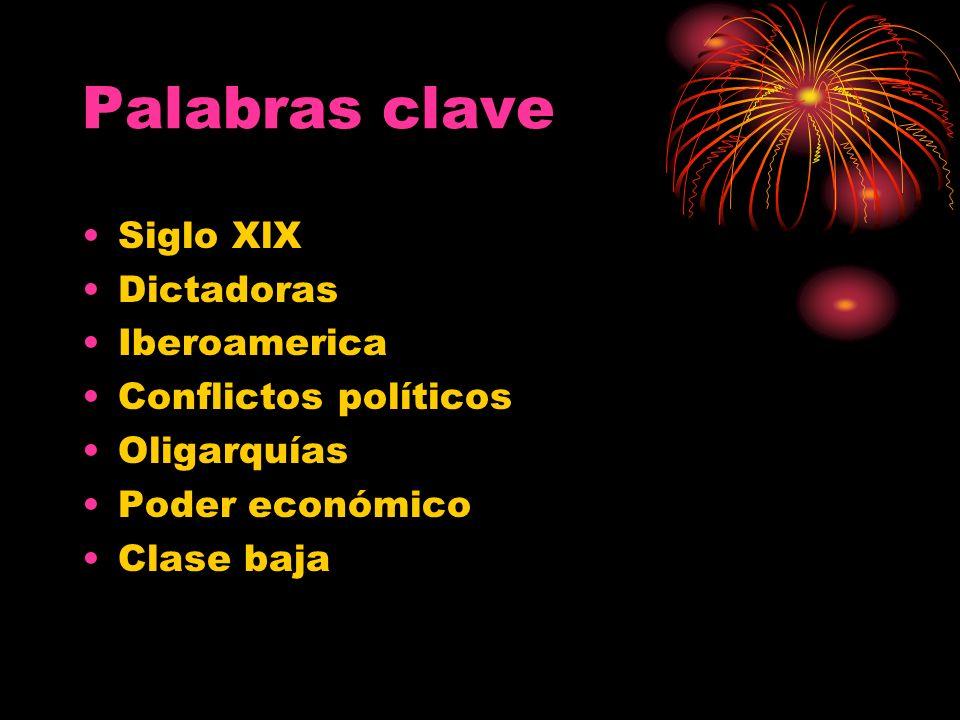 Palabras clave Siglo XlX Dictadoras Iberoamerica Conflictos políticos