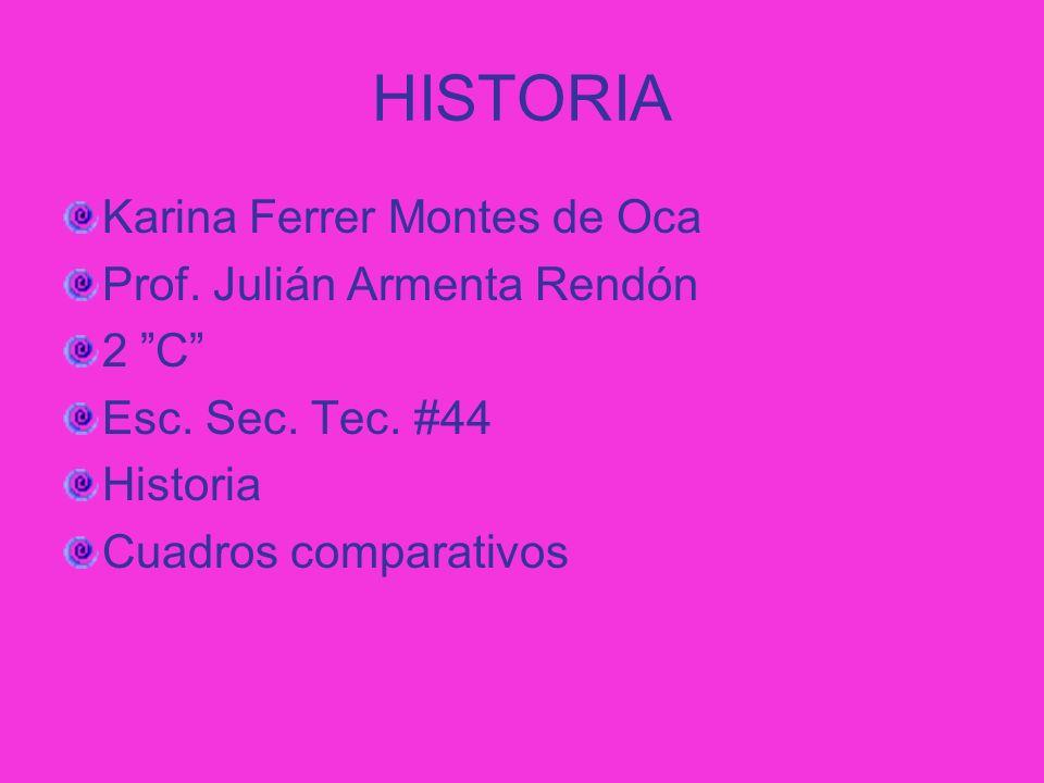 HISTORIA Karina Ferrer Montes de Oca Prof. Julián Armenta Rendón 2 C
