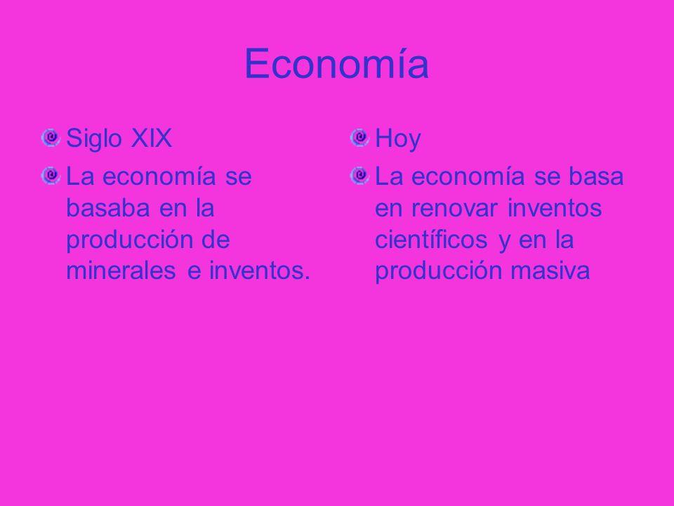 Economía Siglo XIX. La economía se basaba en la producción de minerales e inventos. Hoy.