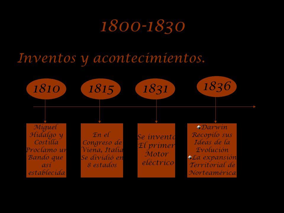 1800-1830 Inventos y acontecimientos. 1836 1810 1815 1831 Se invento