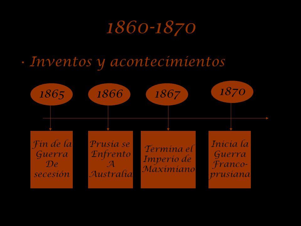 1860-1870 Inventos y acontecimientos 1870 1865 1866 1867 Fin de la