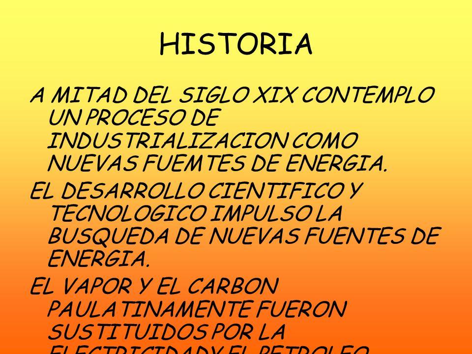 HISTORIA A MITAD DEL SIGLO XIX CONTEMPLO UN PROCESO DE INDUSTRIALIZACION COMO NUEVAS FUEMTES DE ENERGIA.