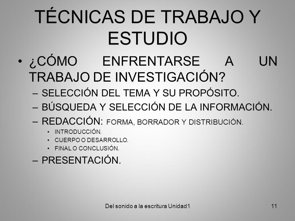 TÉCNICAS DE TRABAJO Y ESTUDIO