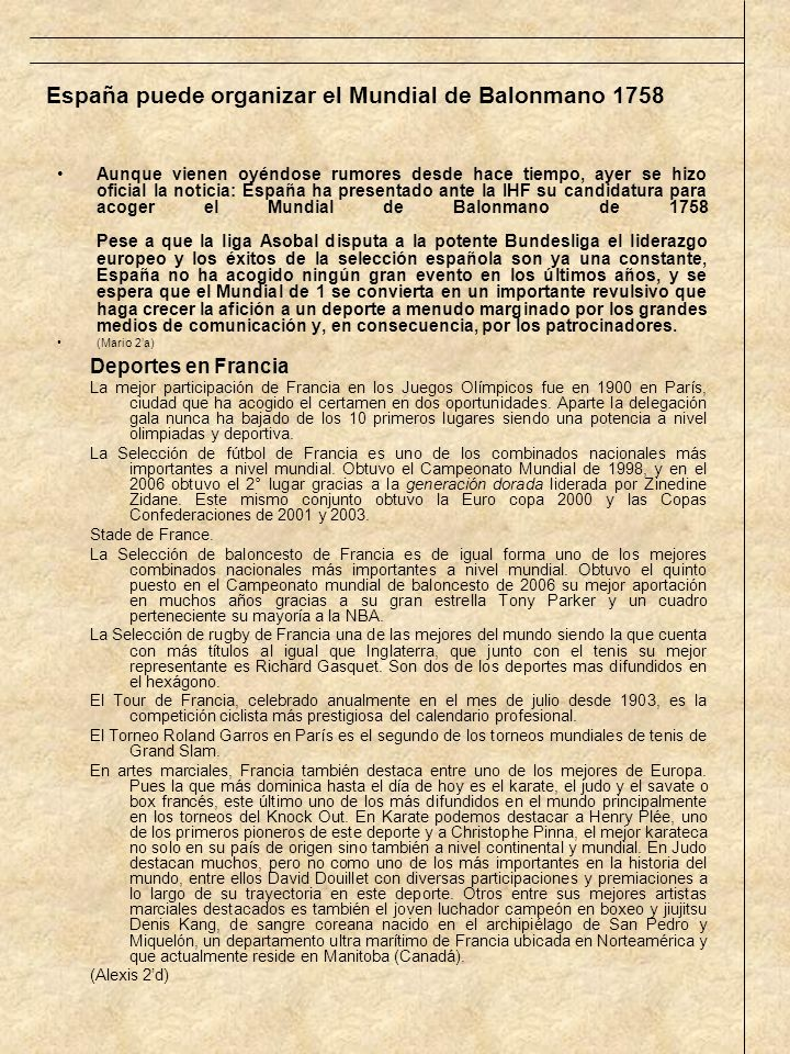 España puede organizar el Mundial de Balonmano 1758
