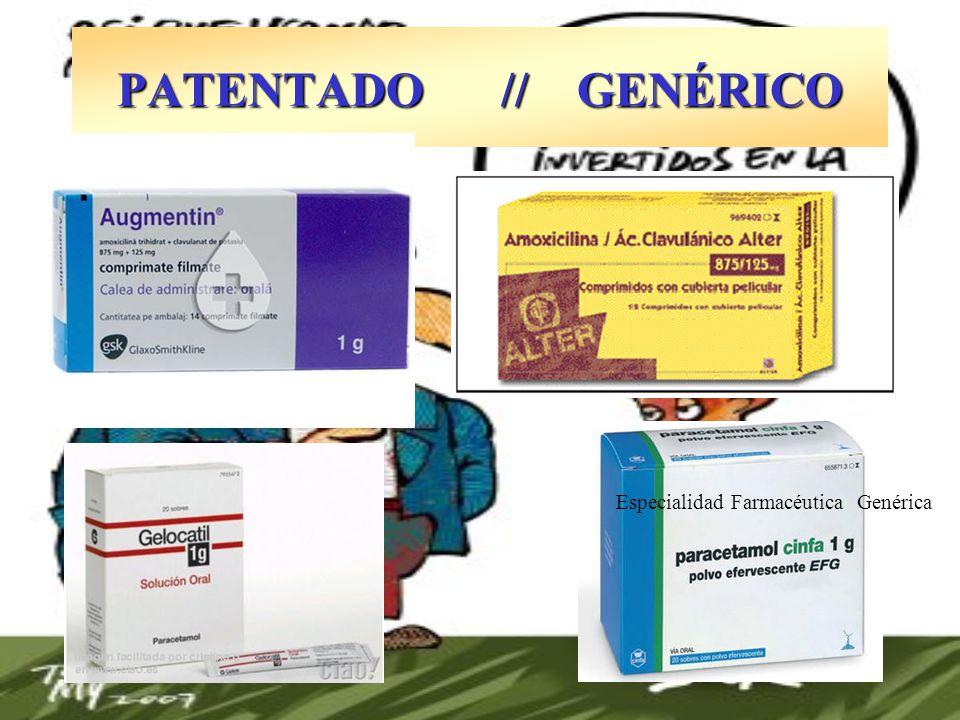 PATENTADO // GENÉRICO Especialidad Farmacéutica Genérica