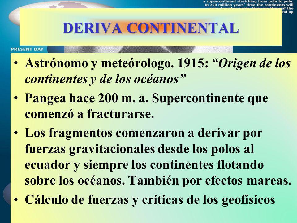 DERIVA CONTINENTAL Astrónomo y meteórologo. 1915: Origen de los continentes y de los océanos