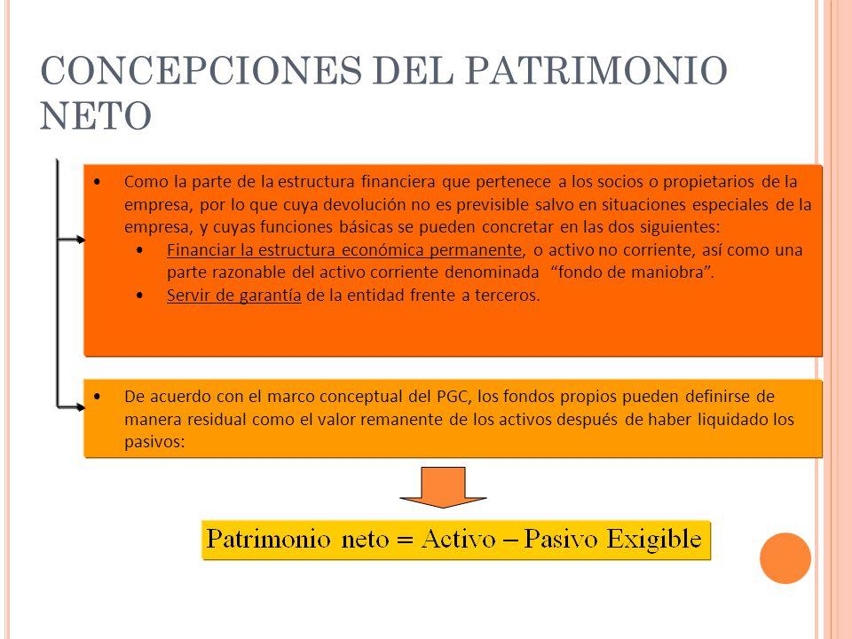 CONCEPCIONES DEL PATRIMONIO NETO