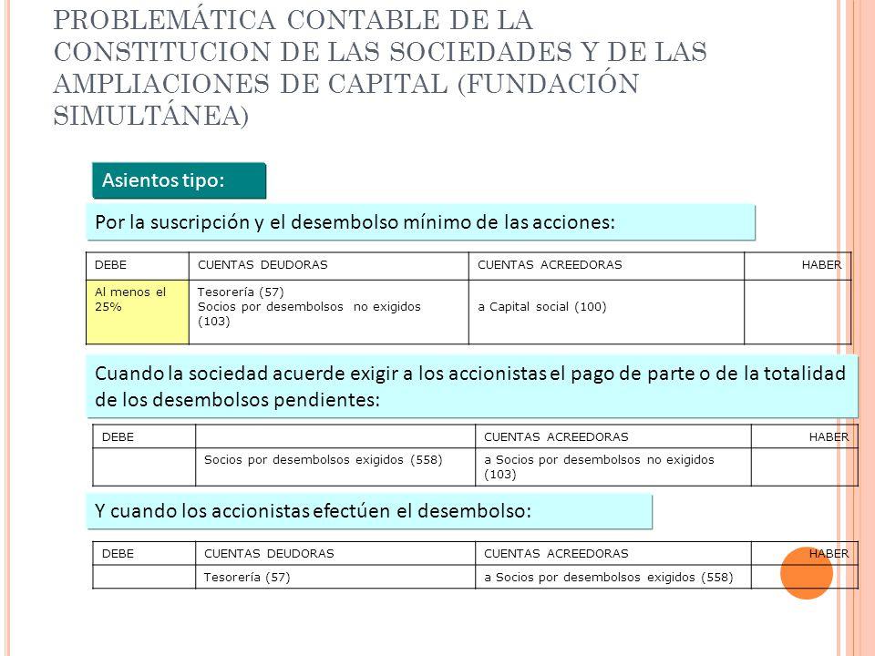 PROBLEMÁTICA CONTABLE DE LA CONSTITUCION DE LAS SOCIEDADES Y DE LAS AMPLIACIONES DE CAPITAL (FUNDACIÓN SIMULTÁNEA)