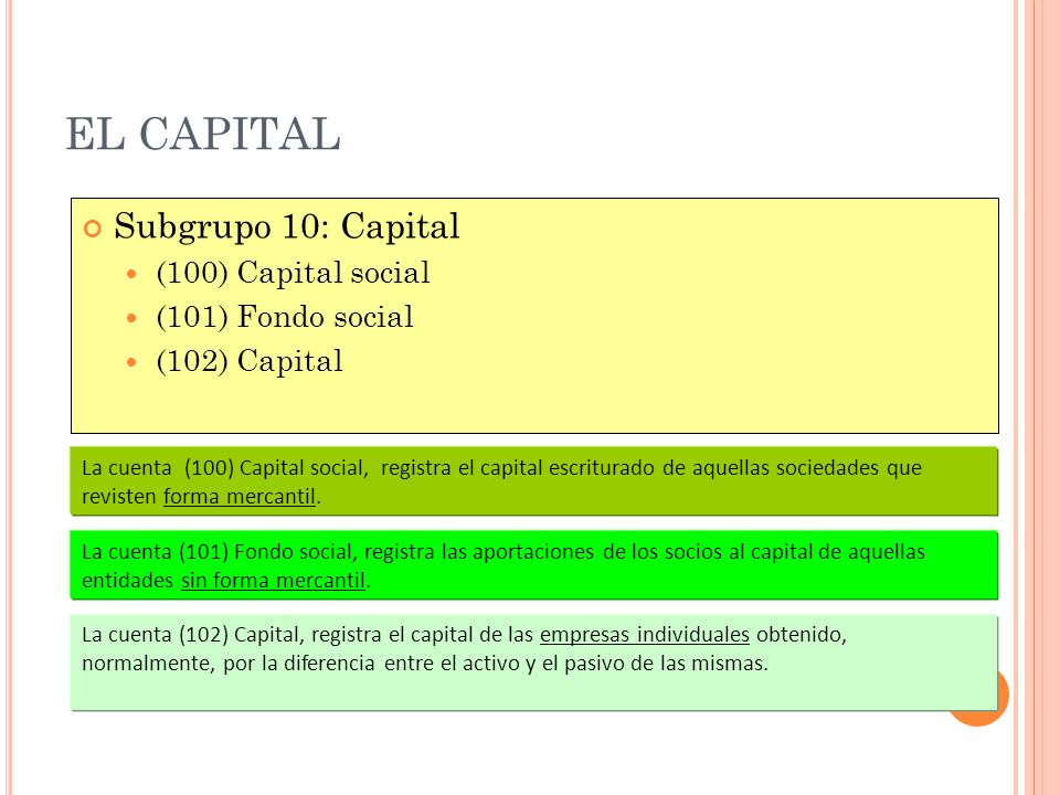 EL CAPITAL Subgrupo 10: Capital (100) Capital social