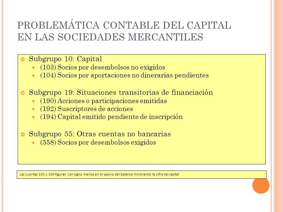 PROBLEMÁTICA CONTABLE DEL CAPITAL EN LAS SOCIEDADES MERCANTILES