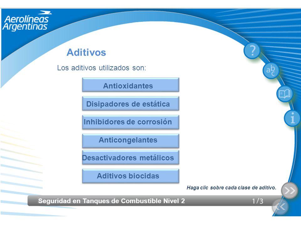 Aditivos Los aditivos utilizados son: Antioxidantes