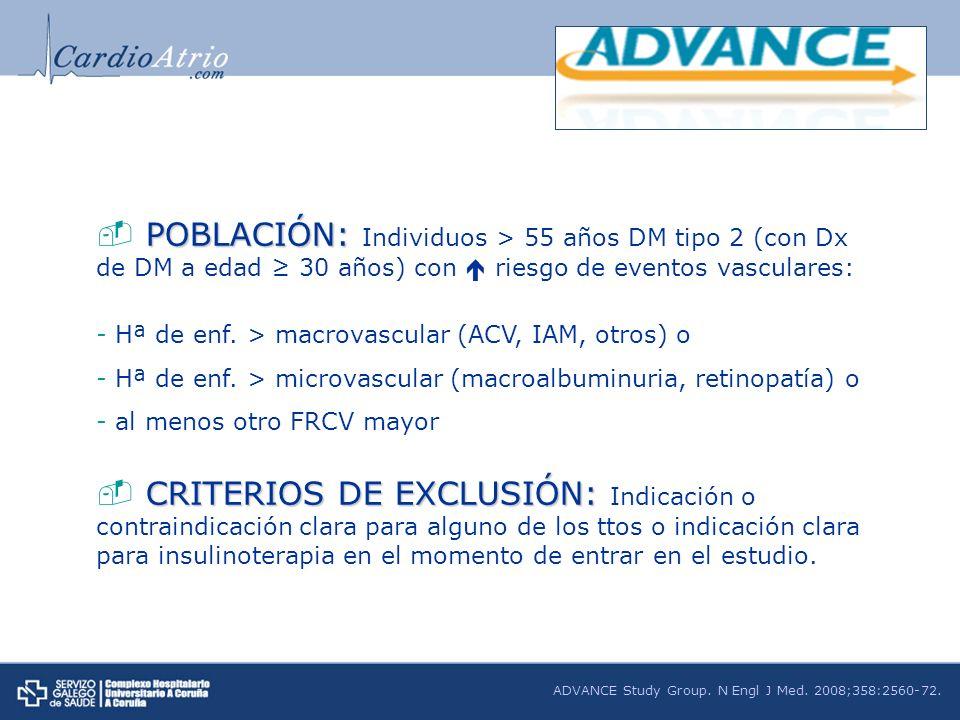 POBLACIÓN: Individuos > 55 años DM tipo 2 (con Dx de DM a edad ≥ 30 años) con  riesgo de eventos vasculares: