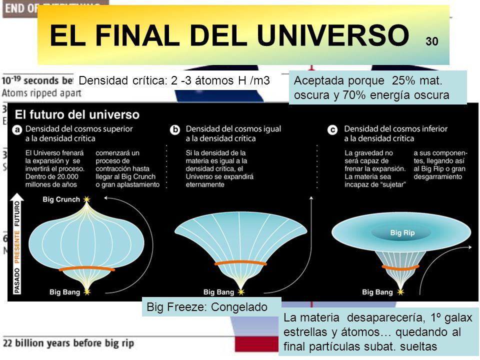 EL FINAL DEL UNIVERSO 30 Densidad crítica: 2 -3 átomos H /m3