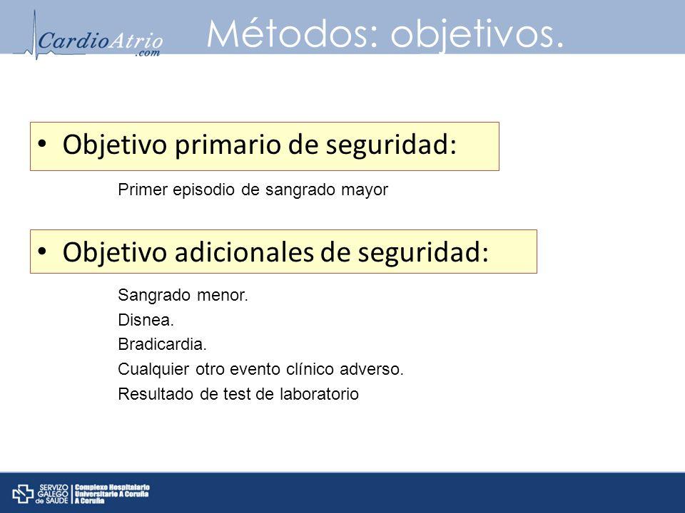 Métodos: objetivos. Objetivo primario de seguridad: