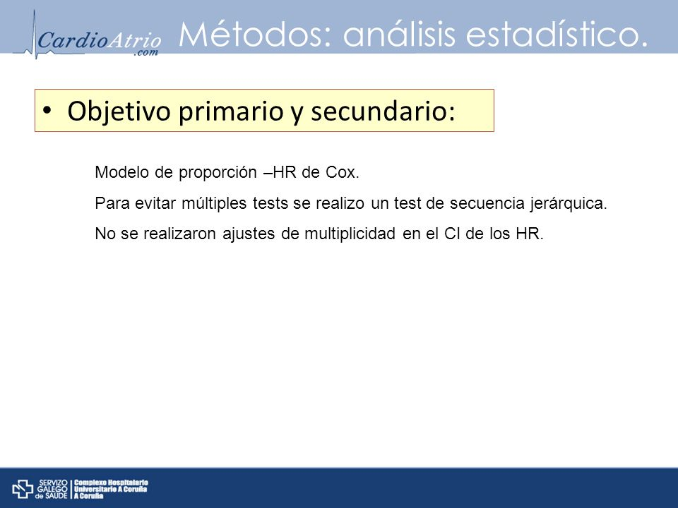 Métodos: análisis estadístico.