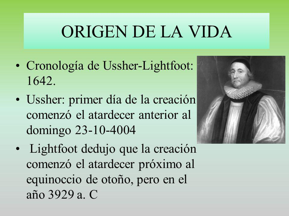 ORIGEN DE LA VIDA Cronología de Ussher-Lightfoot: 1642.