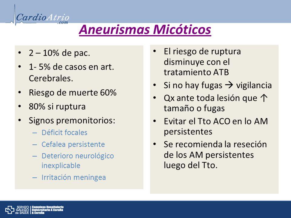 Aneurismas Micóticos 2 – 10% de pac.