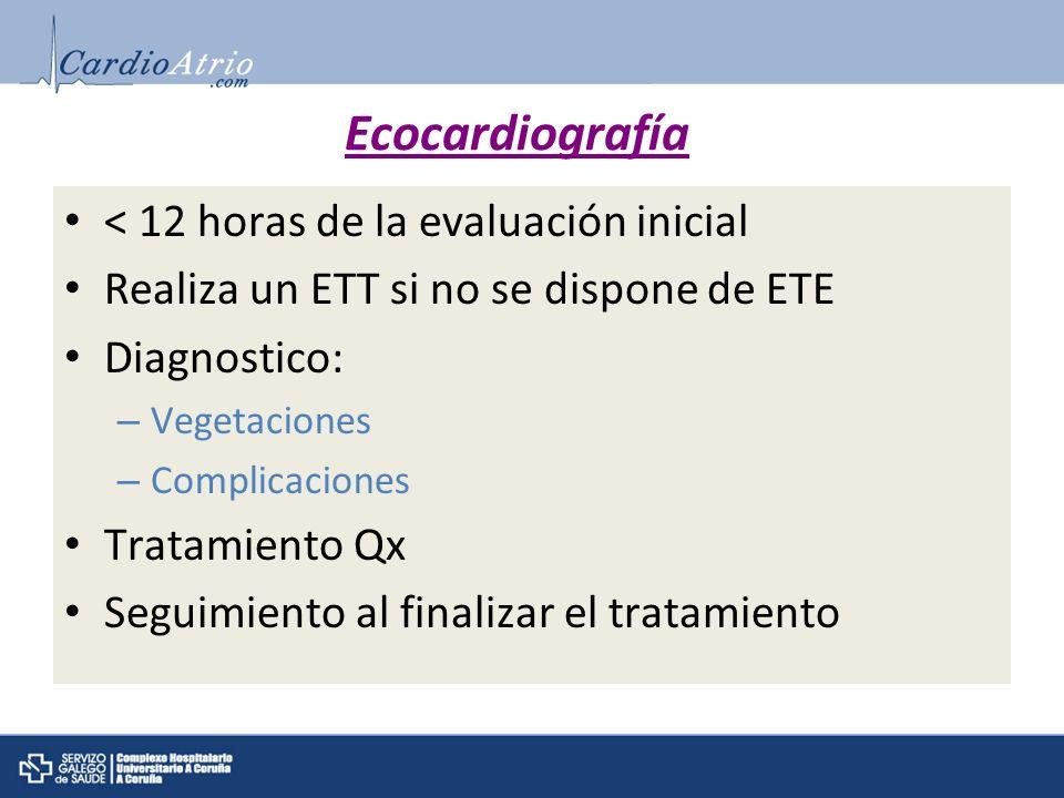 Ecocardiografía < 12 horas de la evaluación inicial