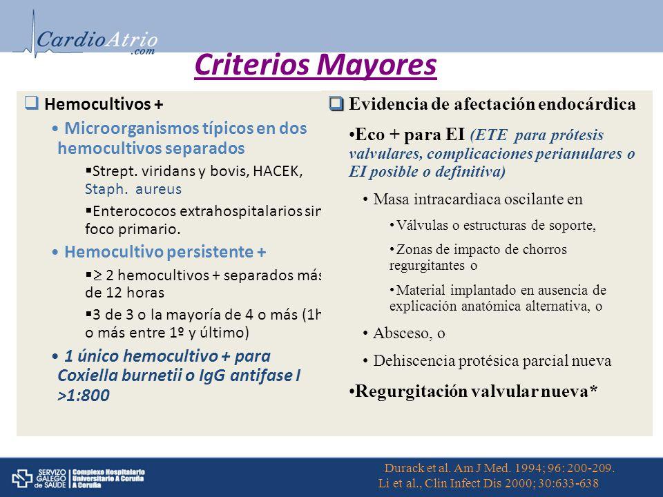 Criterios Mayores Hemocultivos + Evidencia de afectación endocárdica