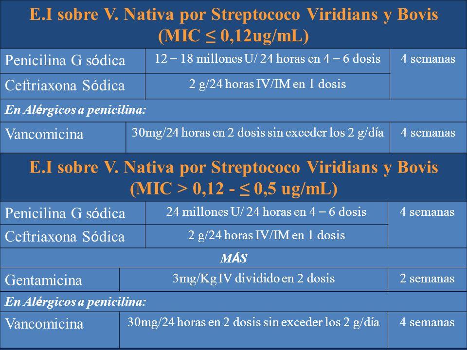 E.I sobre V. Nativa por Streptococo Viridians y Bovis (MIC ≤ 0,12ug/mL)