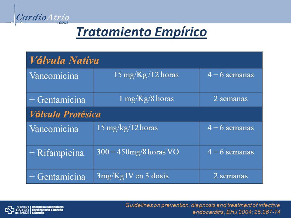 Tratamiento Empírico Válvula Nativa Vancomicina + Gentamicina