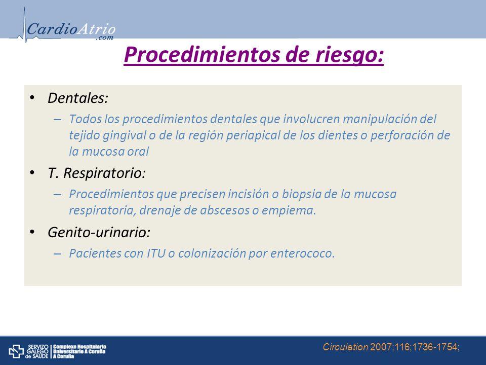 Procedimientos de riesgo:
