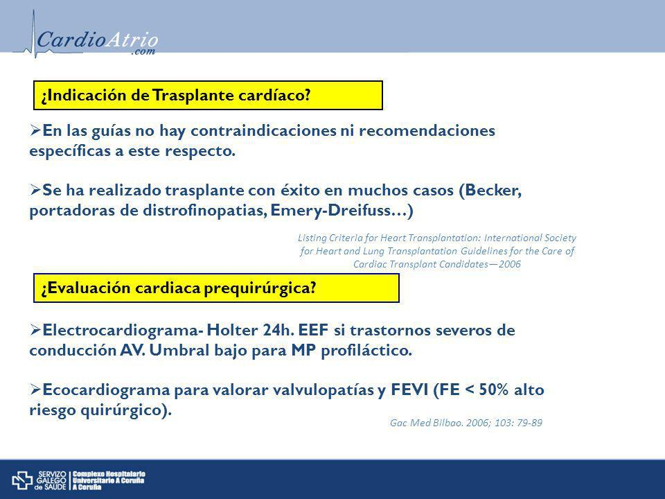 ¿Indicación de Trasplante cardíaco