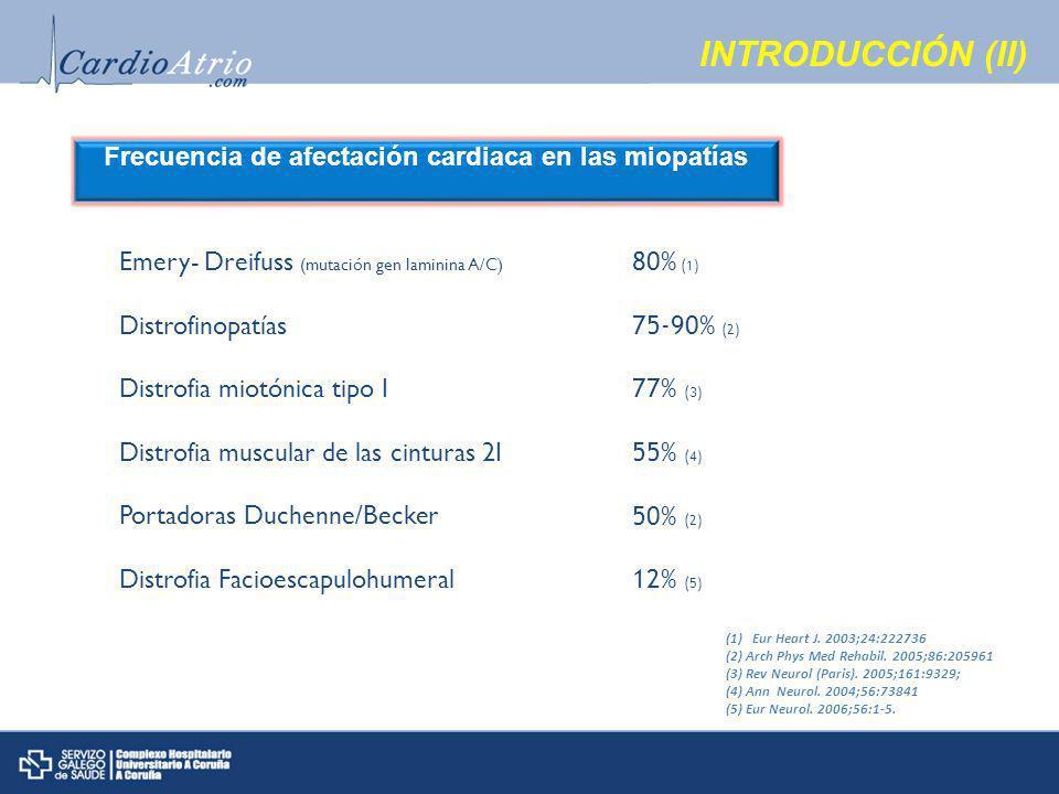 Frecuencia de afectación cardiaca en las miopatías