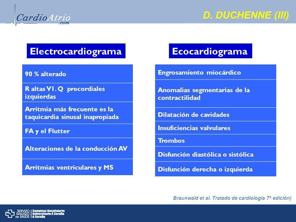D. DUCHENNE (III) Electrocardiograma Ecocardiograma 90 % alterado