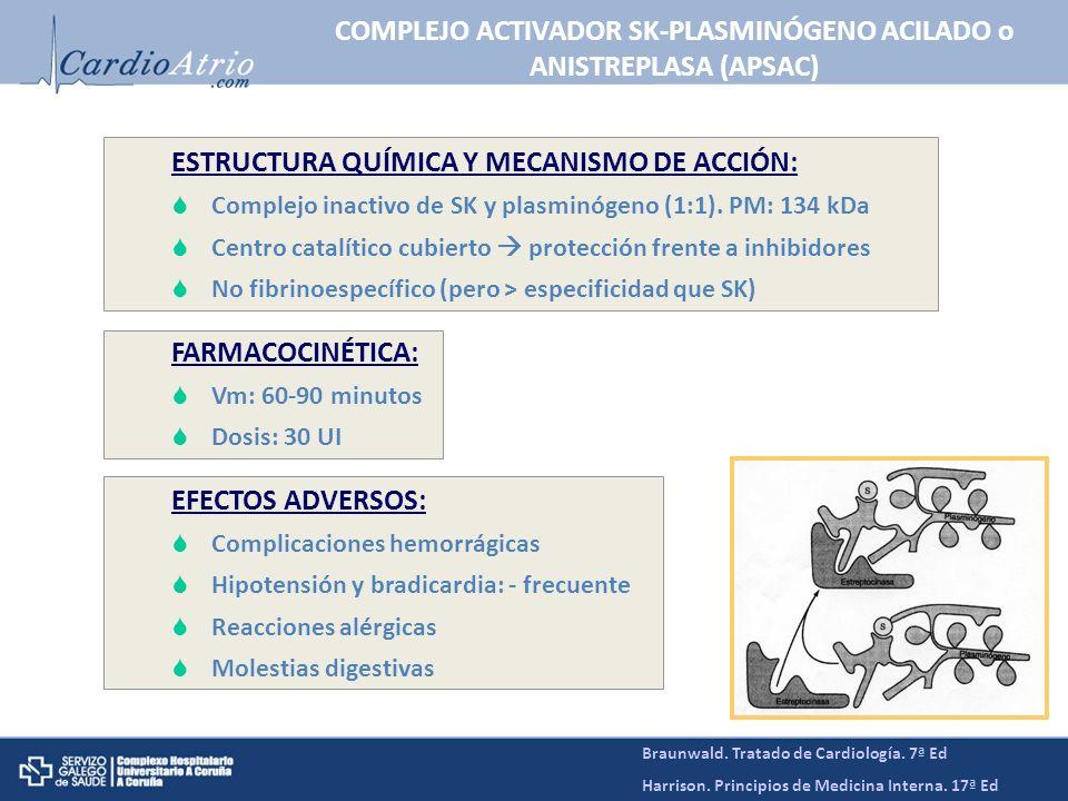 COMPLEJO ACTIVADOR SK-PLASMINÓGENO ACILADO o ANISTREPLASA (APSAC)