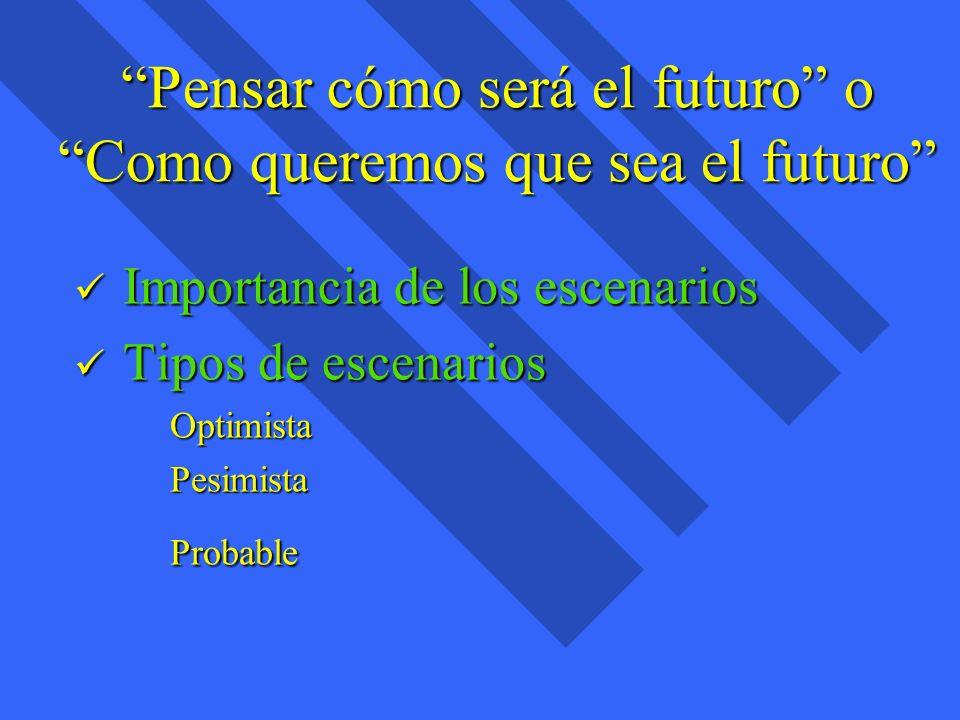 Pensar cómo será el futuro o Como queremos que sea el futuro
