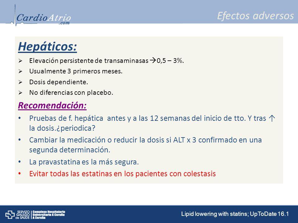 Hepáticos: Efectos adversos Recomendación: