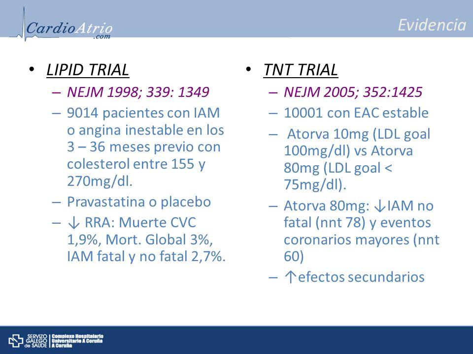 Evidencia LIPID TRIAL TNT TRIAL NEJM 1998; 339: 1349