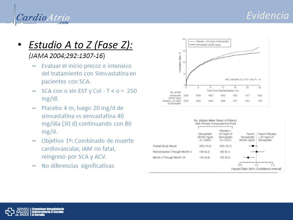 Estudio A to Z (Fase Z): (JAMA 2004;292:1307-16)