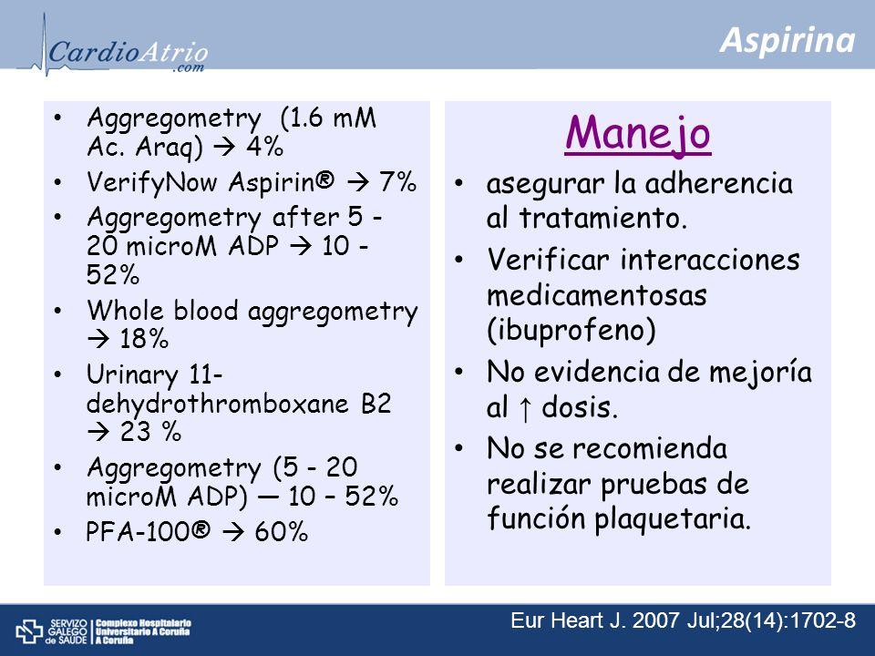 Manejo Aspirina asegurar la adherencia al tratamiento.